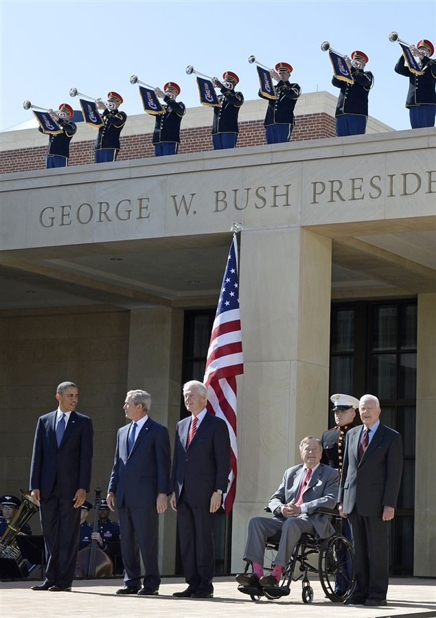 Rare gathering of five presidents at Bush Library dedication. The five living Presidents ~ Barack Obama, George W Bush, Bill Clinton, George Bush & Jimmy Carter
