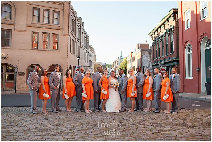 Limefish Studio: Jenn + Ryan | Orange & Green Staunton, Virginia Wedding | Orange Bridesmaids Dresses