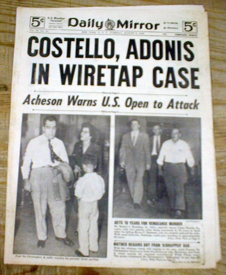 Frank Costello Quotes: 1949 Newspaper Cosa Nostra Genovese Crime Family Frank