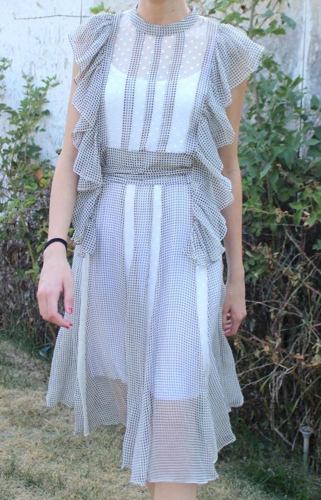 CHLOE SILK CHIFFON RUFFLE SWISS DOT GINGHAM DRESS Designer Romantic SZ US 6 #Chlo