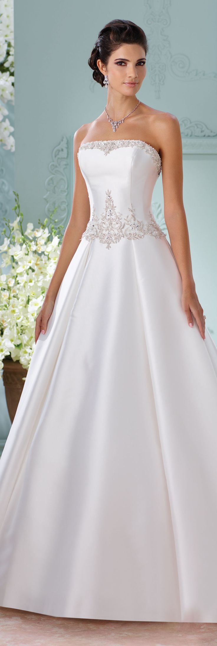 The David Tutera for Mon Cheri Spring 2016 Wedding Gown Collection - Style No. 116223 Selena #satinweddingdress