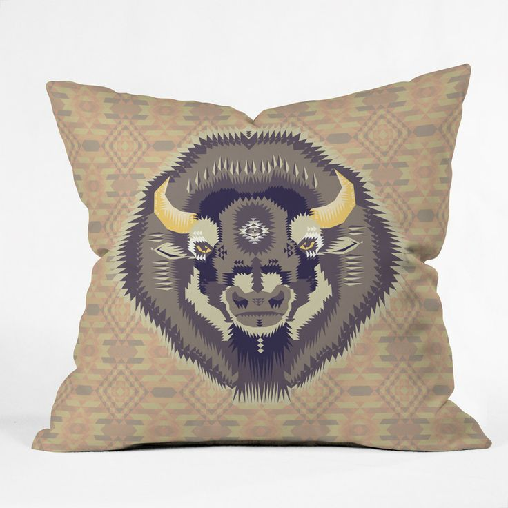 Chobopop Geometric Bison 1 Outdoor Throw Pillow | DENY Designs Home Accessories