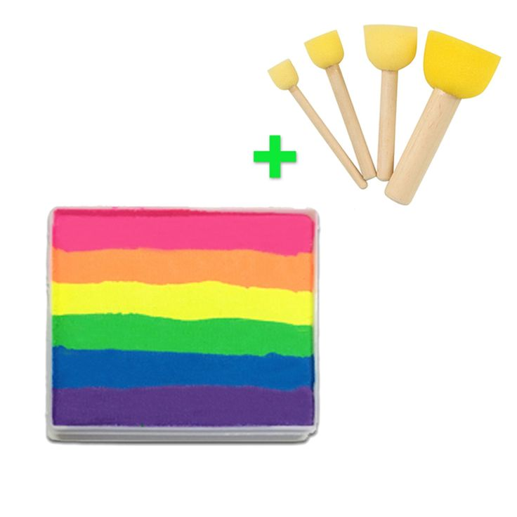 [Buy Together,Cheaper Price] 50g Neon Rainbow Face Paint + 4pcs Sponges Brush Stamp Professional Face Painting Body Paint Makeup