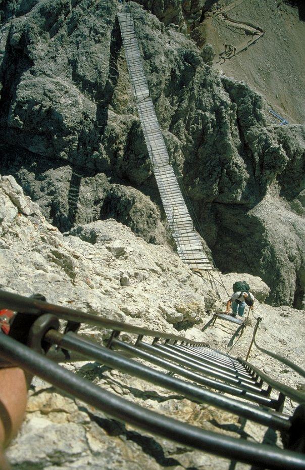 Via Ferrata suspension bridge, Dolomites, Italy