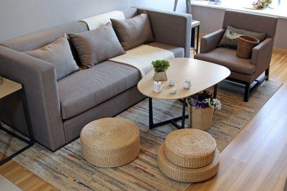 Rustic floor cushions/Floor pouf/Straw by GrasShanghai on Etsy