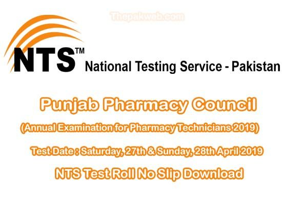Download Punjab Pharmacy Council NTS Test 2019 Roll No Slip