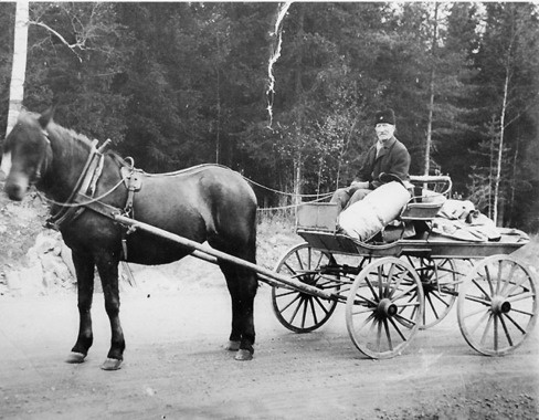 Olle and his horse Sicka bringing the mail to Bjursås from the train in Grycksbo, Sweden. Olle was the mail man for 55 years. 8 years out of the 55 years he walked from Falun with a mailbag on his back.