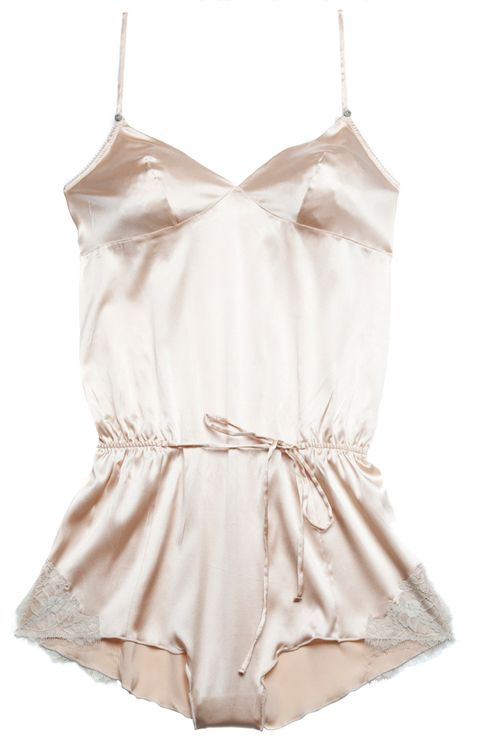 Rosy silk and lace romper just to walk around the house