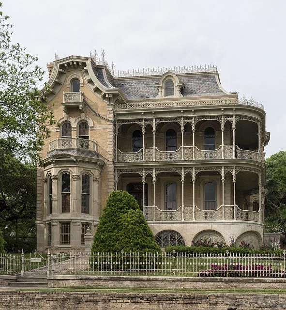 "The John Bremond Jr. House, one of 11 grand Victorian homes erected in the ""Bremond Block"" in downtown Austin, Texas, from the mid-1850s to 1910"