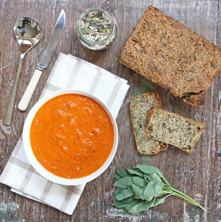 Roasted Tomato and Red Pepper Soup Recipe Soups with plum tomatoes, red pepper, fresh basil leaves, fresh rosemary, bay leaves, dried thyme, water, dessert, dessert, olive oil, salt, pepper