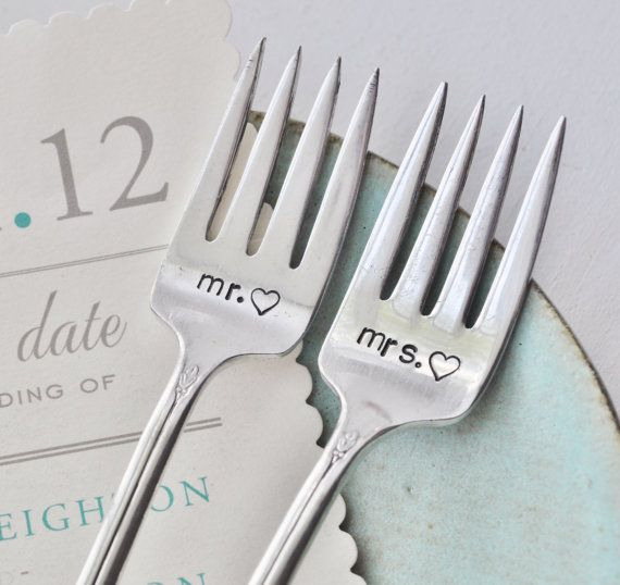 MR. & MRS. Hand Stamped Vintage Wedding Cake Forks