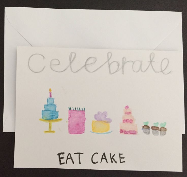 A personal favourite from my Etsy shop https://www.etsy.com/au/listing/511435000/celebrate-eat-cake-greeting-card