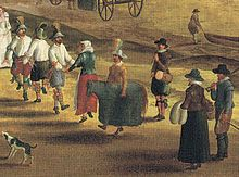 Morris dancers and a hobby horse: detail of Thames at Richmond, with the Old Royal Palace, c. 1620