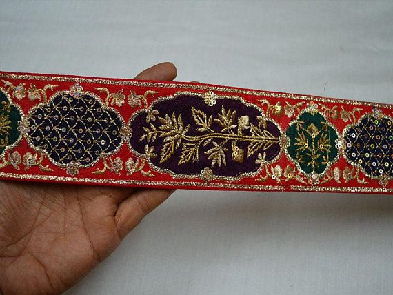 NEW FLORAL JACQUARD TRIM RIBBON LACE RED BRONZE SEWING GOLD CRAFT FABRIC 9YARD