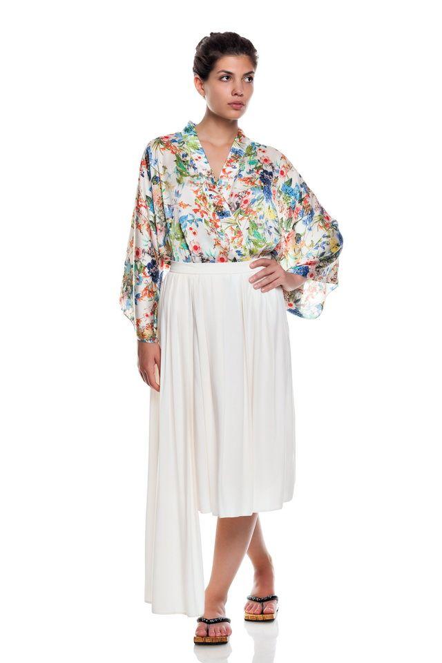 Floral kimono jaket ,and white asimetric skirt.