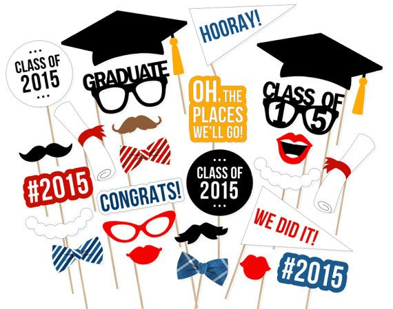 2015 Graduation Photo Booth Props Class of by PrintablePropShop