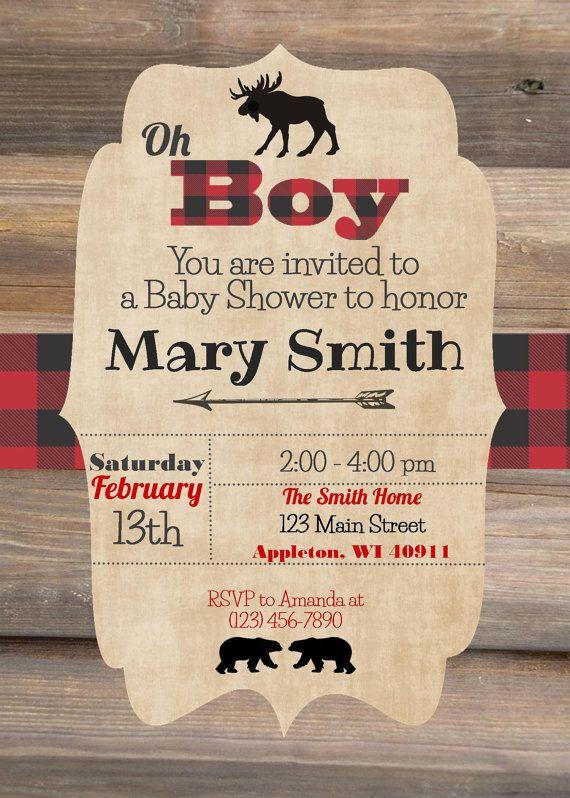 Lumberjack Buffalo Plaid Bear Moose Baby Shower Invitation - Baby Boy Shower Invitation - Digital File JPEG - Fully Customizable