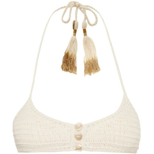 She Made Me Savarna crochet triangle bikini top ($60) ❤ liked on Polyvore featuring swimwear, bikinis, bikini tops, bikini, shirts, cream, crochet bikini top, bohemian bikinis, triangle swimwear and bikini swimwear