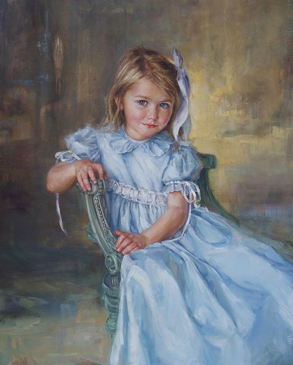 Beautiful three-quarter length oil portrait of a girl by a Portraits, Inc. artist