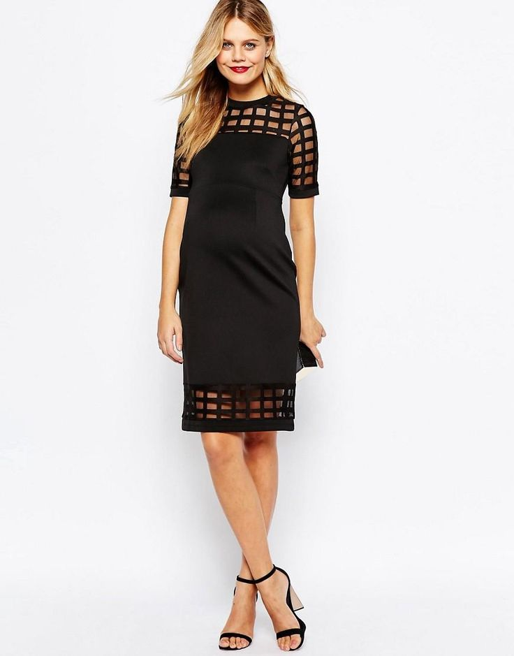 Black lace bodycon dress asos maternity