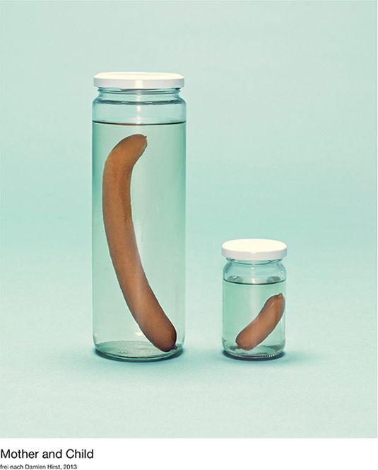 A touch of the bratwursts: Karsten Wegener :: Mother and Child (Damien Hirst). Part of the Sausages in Art series