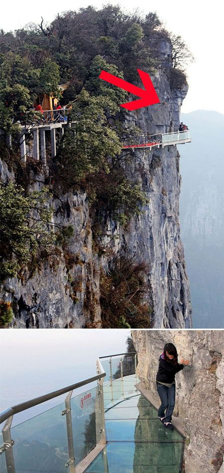 """This glass path built around a mountain in China is called """"The Walk of Faith"""". It has 60 meters long. Would you dare to walk this path? Of course, if you don't suffer from vertigo that is!"""