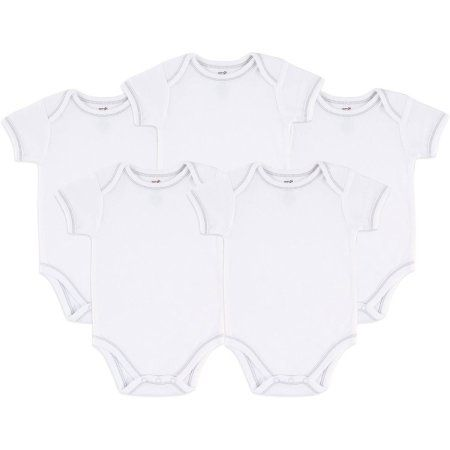 Touched By Nature 100% Organic Cotton Newborn Baby Clothes Boy or Girl Unisex White Bodysuits, 5-Pack, Size: 0 - 3 Months