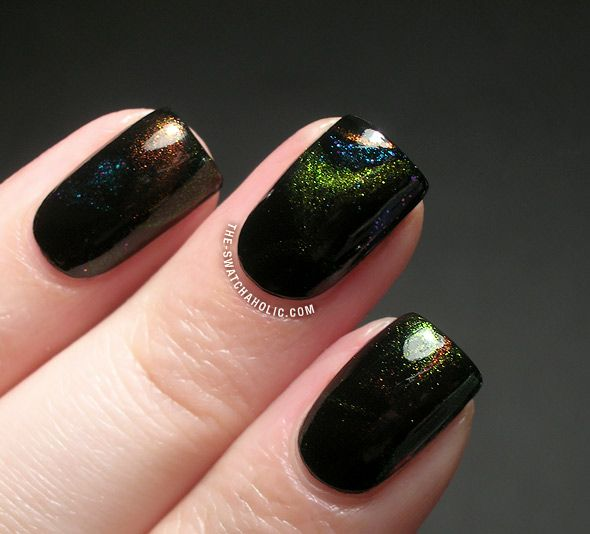 Subtle Multichrome Galaxy Water Marble from The Swatchaholic: Water Marble, Galaxy Water, Multichrome Galaxy, Subtle Multichrome, Nail Art