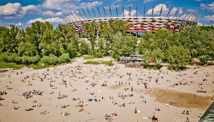 Beach (Temat Rzeka) and the National Stadium, Warsaw, Poland