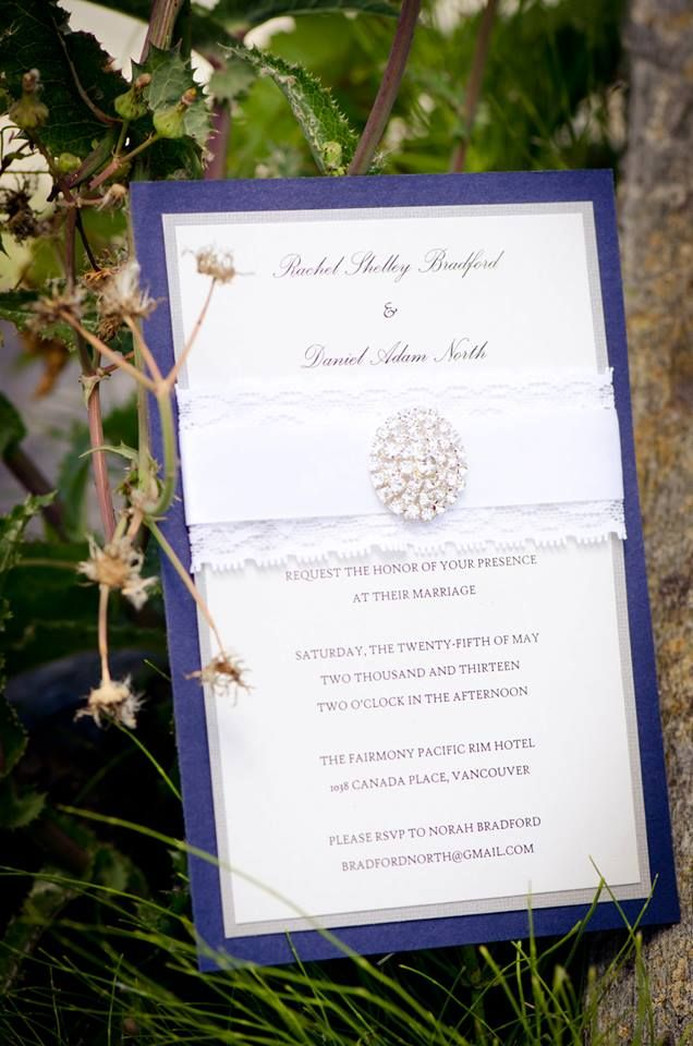 Going for a elegant look? Layered lace/silk ribbons with a heavy gemstone buckle on blue and ivory card stock is exactly what you're looking for! #Vancouver #Handmade #Wedding #Invitations  www.blisspaper.com