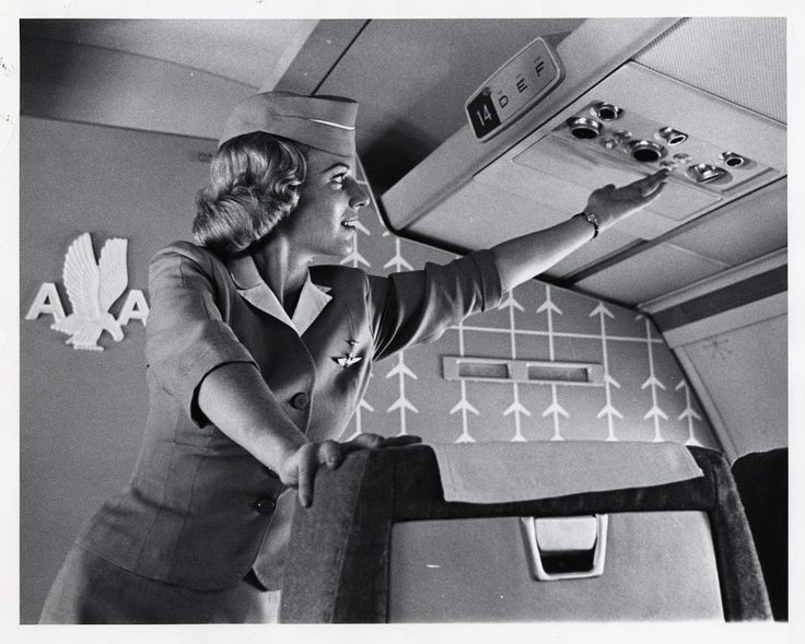 American Airlines flight attendant on a Boeing 707