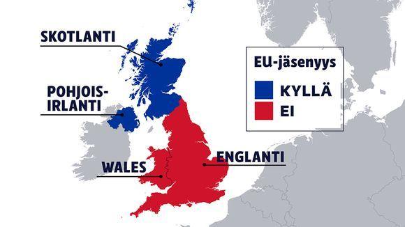Britannian äänestystulos jakaa maan eri osat selkeästi kahteen eri kastiin. Englanti ja Wales kannattivat äänestyksessä eroa Euroopan unionista, mutta Skotlanti ja Pohjois-Irlanti pysymistä unionissa.