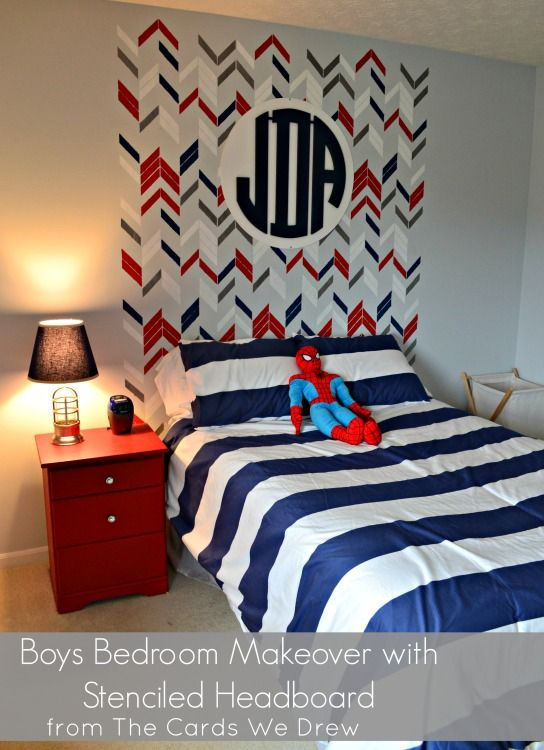 Boys Bedroom with Stenciled Headboard and Monogram - #bigboyroom: Nurseries Boys, Boys Bedrooms, Boy Bedrooms, Simple Boys, Boys Red, Big Boys Rooms, Big Boy Rooms