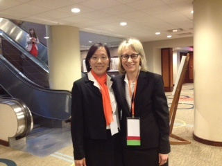 YWCA McLean County is excited to see all the persimmon scarves at the annual YWCA conference in Washington D.C! Here is a picture of our Board Chair Lyn Potts and our former President & CEO, Becky Hines!