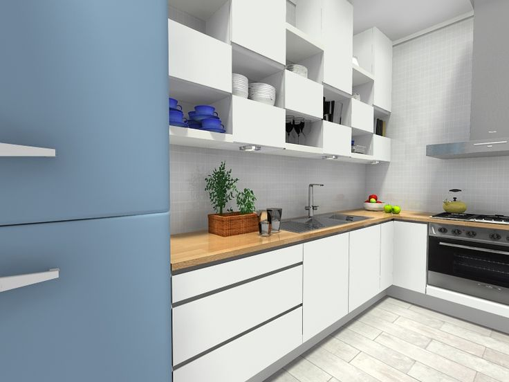 Create cool kitchen cabinet layouts, by hanging open and closed kitchen cabinets in a grid. See how - http://www.roomsketcher.com/blog/diy-kitchen-ideas-creative-cabinets/ #kitchendesign #kitchencabinetlayouts #diykitchenideas