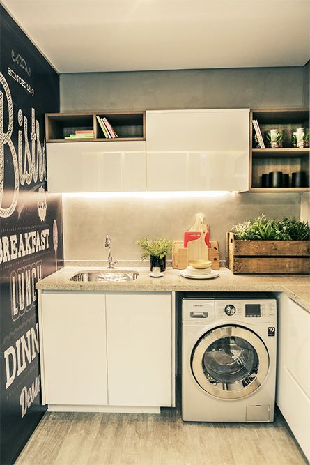 Compact laundry room with chalkboard wall!