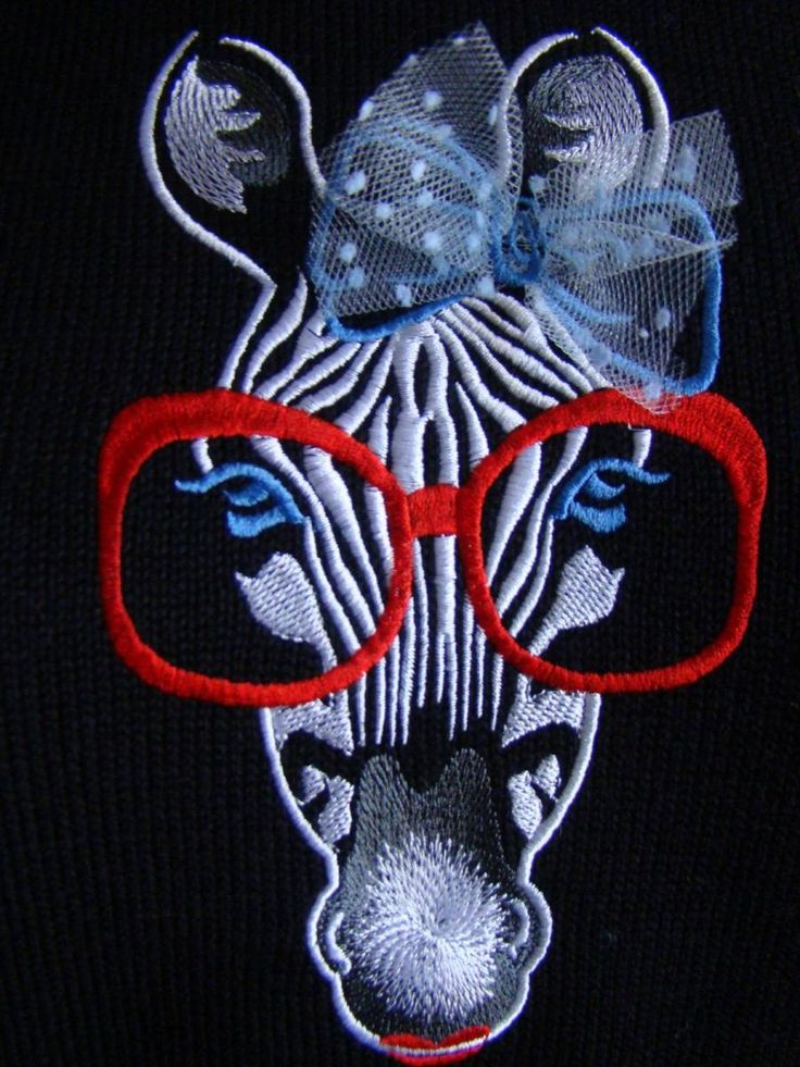 Zebra with glasses free embroidery design machine