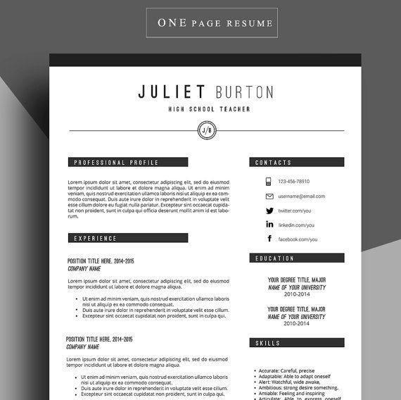 Professional Resume Template, Cv Template, Resume Cover Letter, Resume For  Job, Resume