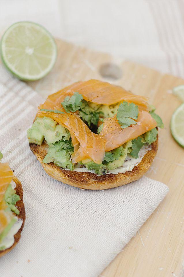 Smoke Salmon and Avocado Coriander bagel