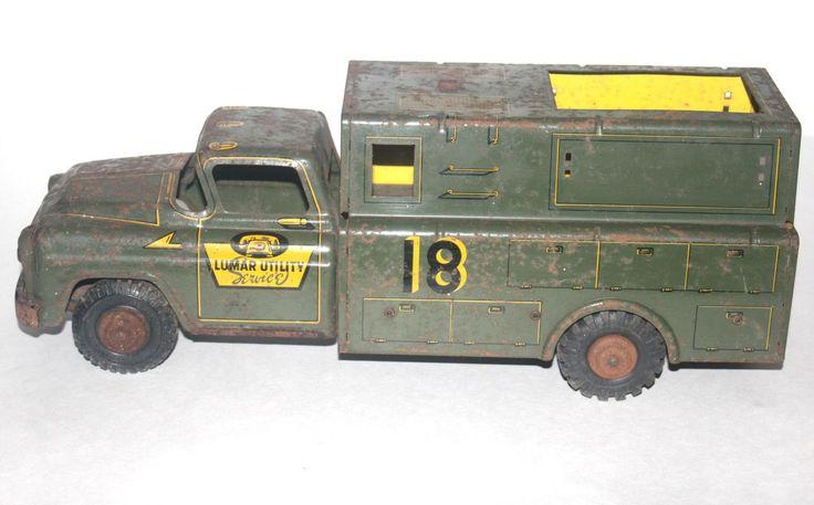 Vintage Marx Lumar Utility Service Truck #18, 1950 Pressed Steel Toy Truck, Antique Alchemy