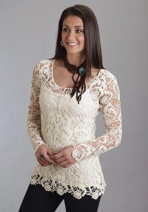 Stetson® Women's Cream Crochet Lace Long Sleeve Western Tunic