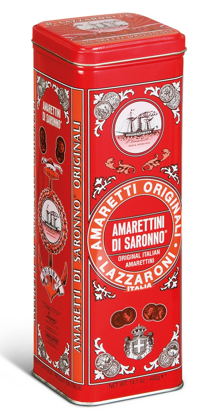 Lazzaroni Amarettini - Not only are the amarettini delicious, the packaging is gorgeous, too! (I like to store spaghetti in them)