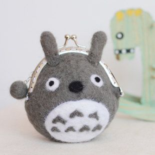 Cute Grey Totoro Clutch Wallet , Felt Wool Animal, Finished Felting Kit