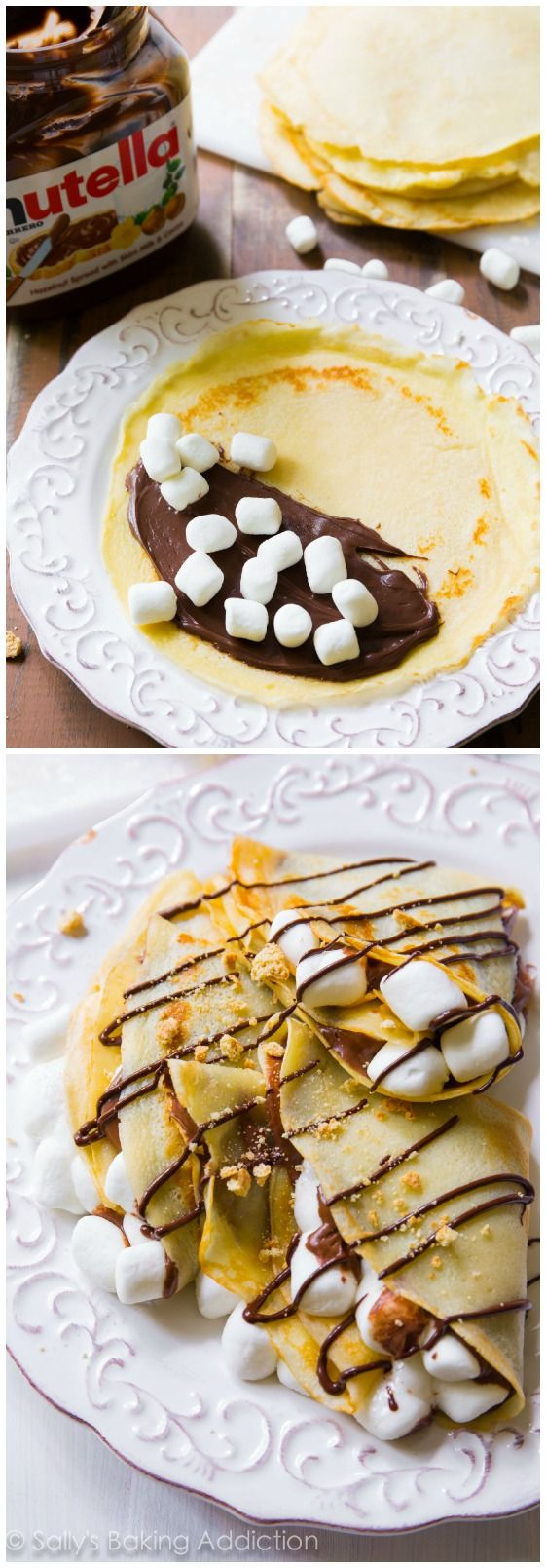 30 Minute S'mores Nutella Crepes - this is my favorite crepe recipe and you won't believe how easy they are!
