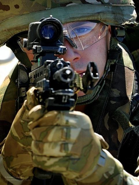 A Royal Marine with his SA80 rifle