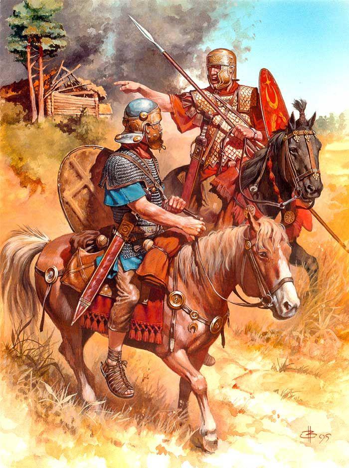 Caballería auxiliar romana durante el Siglo I, por cortesía de Andrey Karashchuk. Más en www.elgrancapitan.org/foro