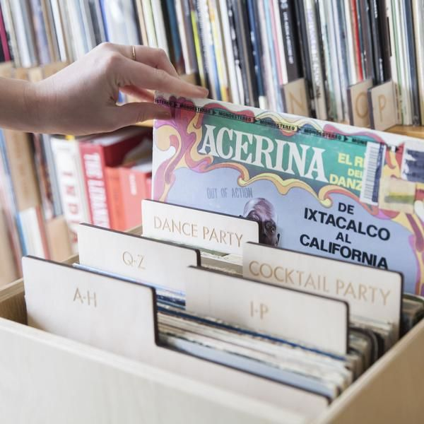 """Vinyl separators for organizing vinyl records, LPs by music genre. Designed for vertical AND horizontal storage of 12"""" albums. Made in San Francisco. #recorddividers"""