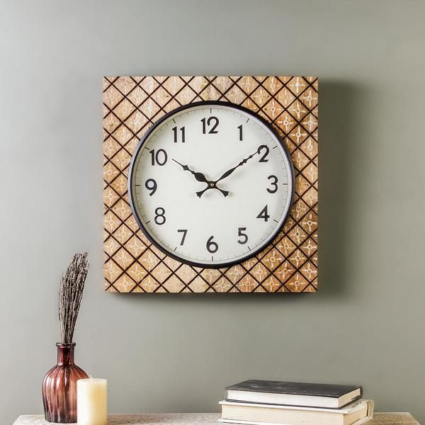 Madras Wood 15 Square Wall Clock Clock Clocks Vintageclock Wallclock Antique Rare Handmade Handpainted Cool Square Wall Clock Vintage Clock Wall Clock