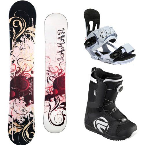 Lamar Rose Complete Women's Snowboard Package with Head Velvet Bindings and Flow Vega BOA Boots Board Size 141-Boot Size-7