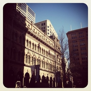 Beautiful Martin Place this morning, such a gorgeous winter day :) #sydney #martinplace #architecture #bluesky #city